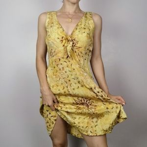 Vintage boho chic yellow celestial summer dress
